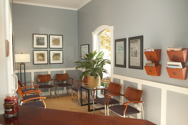 A full view of our warm and inviting reception area.